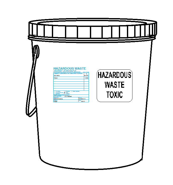 hazardous waste bucket with labels