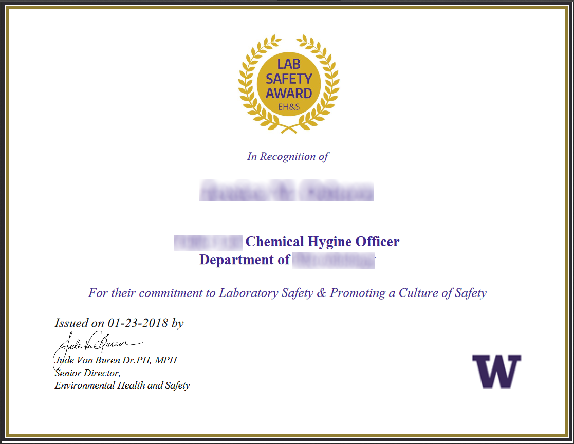 New Chemical Hygiene Officer Lab Safety Award Ehs